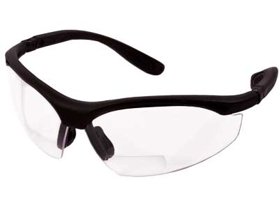 Radians Pro RX 2.5  Bi-Focal Shooting Glasses, Clear Lenses, Adj. Temples