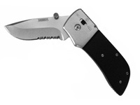 "Seber Ratcheting Knife, 3"" Locking Blade, Drop Point, Half-Serrated Edge"